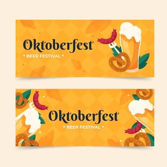Horizontal oktoberfest banners set