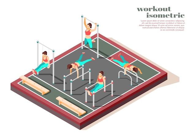 Horizontal parallel bars pull ups and gymnastics rings total body workout for women isometric composition