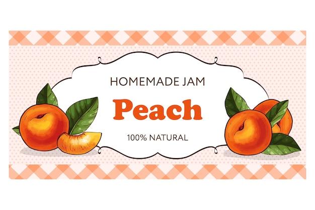 Horizontal peach jam label for jar of peach confiture, jam or marmalade.