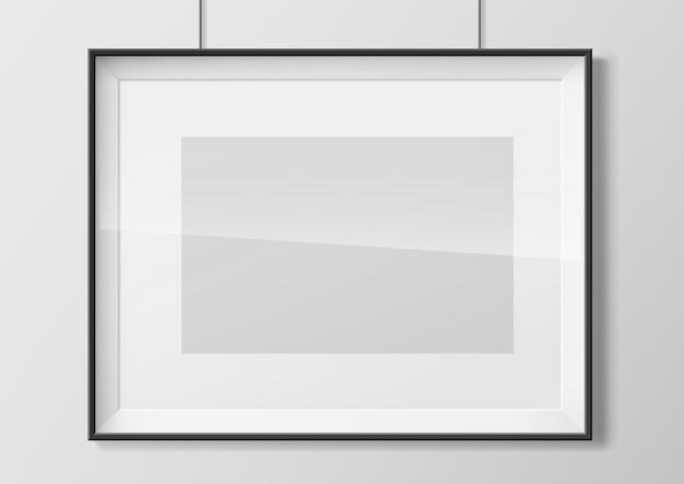 Horizontal photo frame with glass