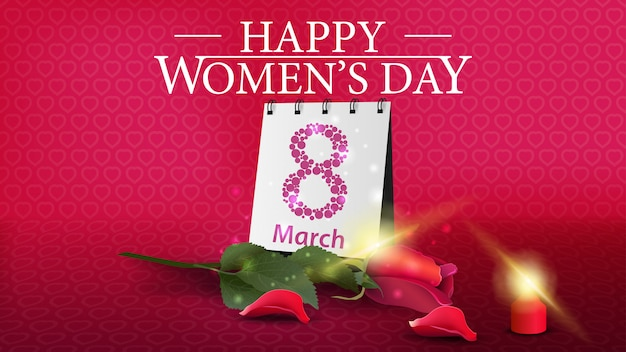 Horizontal pink greeting postcard to the women's day