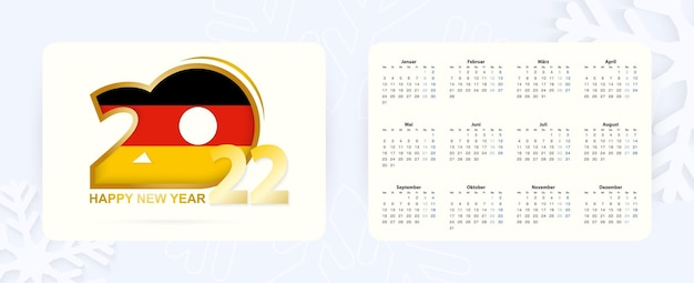 Horizontal pocket calendar 2022 in german language. new year 2022 icon with flag of germany.