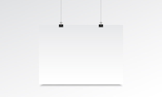 Horizontal poster realistic mock up with hanging
