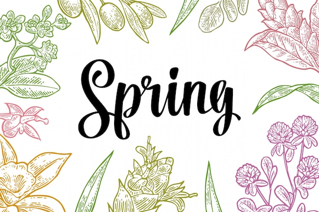 Horizontal poster with flower, blooming branch, leaves, grass