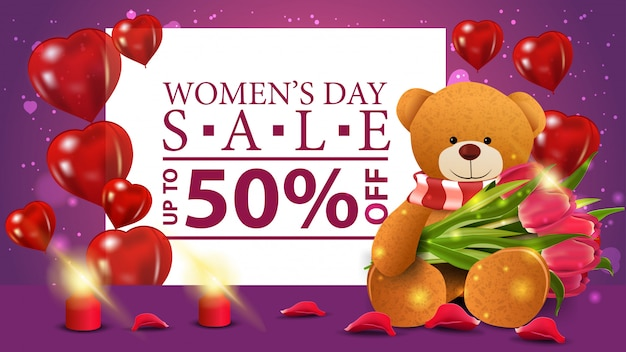 Horizontal purple discount banner to the women's day