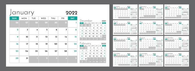 Горизонтальный ежеквартальный календарь на 2022 год. неделя начинается в воскресенье. набор из 12-страничных шаблонов.
