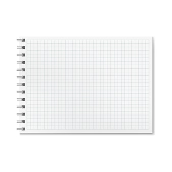 Horizontal realistic graph ruled notebook