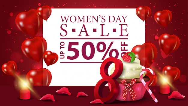 Horizontal red discount banner to the women's day