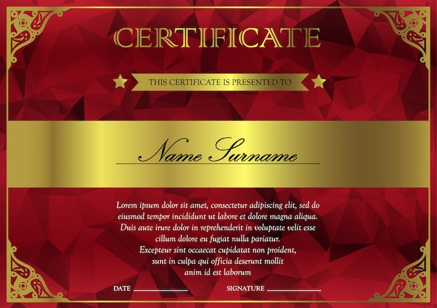 Horizontal red and gold certificate and diploma template with vintage, floral, filigree for winner for achievement. blank of award coupon