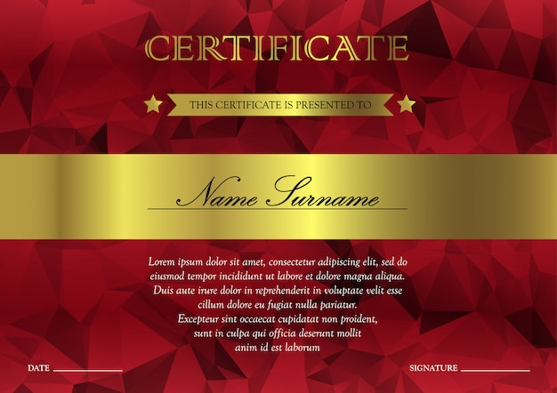 Horizontal red and gold certificate and diploma template with vintage, floral, filigree for winner for achievement.