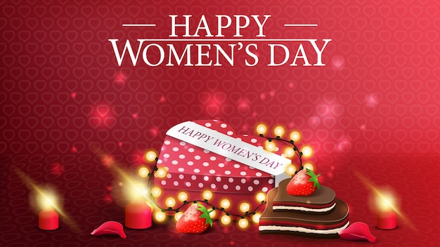 Horizontal red greeting postcard to the women's day