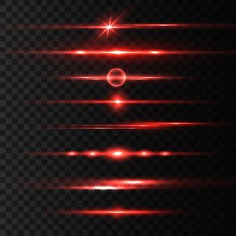 水平方向の赤いレーザービーム、美しい光のフレア。