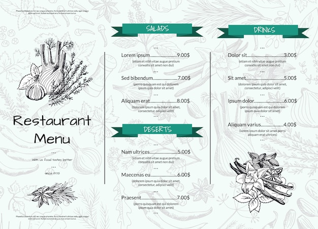 Horizontal restaurant or cafe menu template with hand drawn herbs and spices
