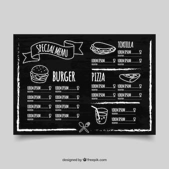 Horizontal restaurant menu template in blackboard style