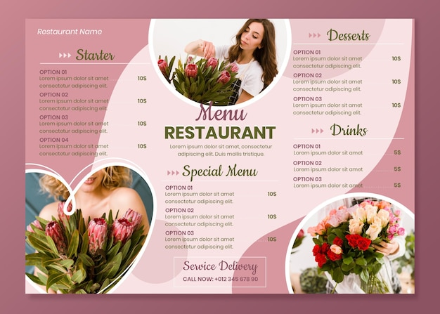 Horizontal restaurant menu template