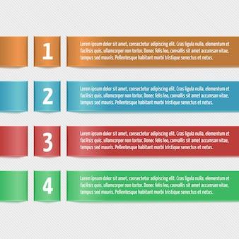 数字の付いた横のリボン。ビジネスインフォグラフィックのための近代的なデザインテンプレート。バナー、カード、紙のデザイン、ウェブサイトのレイアウト、プレゼンテーションなどのテンプレート。ベクトルeps10。