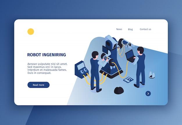 인간의 문자 벡터 일러스트와 함께 유지 보수에서 로봇 조작자의 아이소 메트릭 이미지와 수평 로봇 자동화 개념 방문 페이지