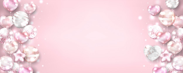 Sfondo orizzontale palloncini oro rosa per compleanno e celebrazione