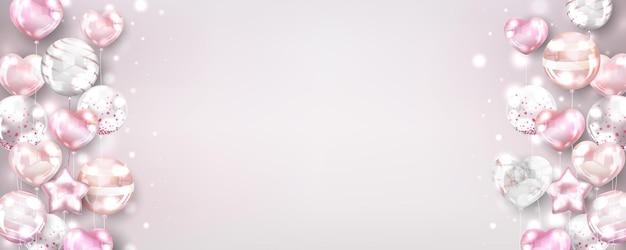 バレンタインの水平ローズゴールド風船の背景