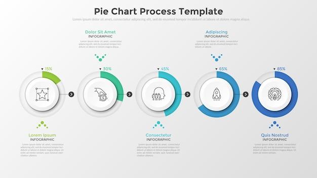 矢印で接続されたパーセンテージ表示のある5つの円形の紙の白い要素の水平方向の行。円グラフプロセステンプレート。ビジネスプロジェクトの完了を視覚化するためのベクトル図。