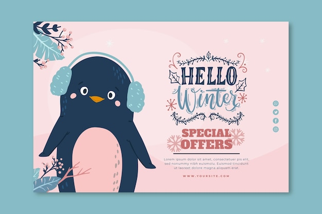 Horizontal sale banner for winter with penguin