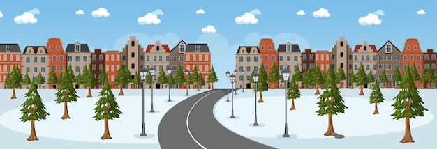 Horizontal scene at day time with long road through snow park into the town
