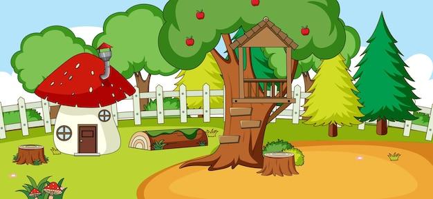 Scena orizzontale con casa dei funghi nel parco