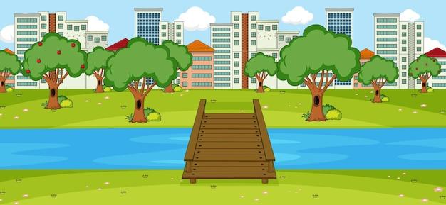 공원 및 도시 가로 장면