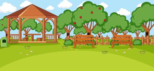 公園内のパビリオンのある水平方向のシーン