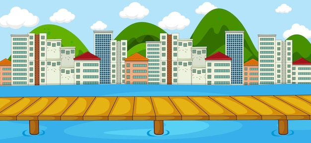 Horizontal scene with river and cityscape background
