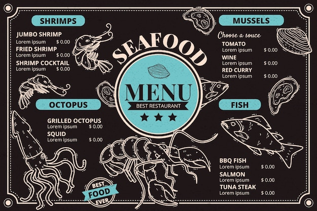 Horizontal seafood menu template