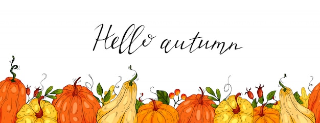 Horizontal seamless background with pumpkins and autumn leaves in hand drawn style. illustration.