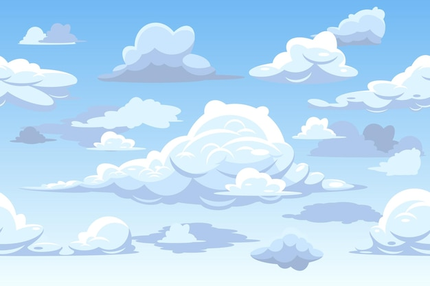 Горизонтальный фон с облаками Бесплатные векторы