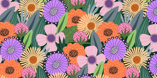 Horizontal seamless pattern with cute doodle flowers and leaves on dark background,