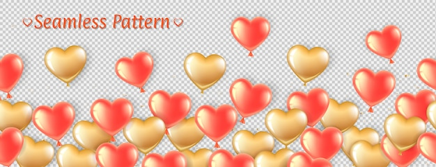 Horizontal seamless pattern with pink and gold balloons in the shape of a heart