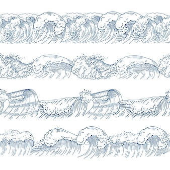 Horizontal seamless patterns with different ocean waves. hand drawn pictures set. ocean and sea wave pattern