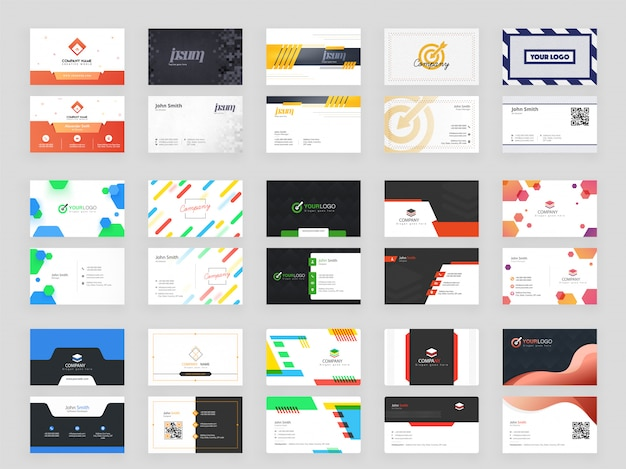 Horizontal set of 15 business card template