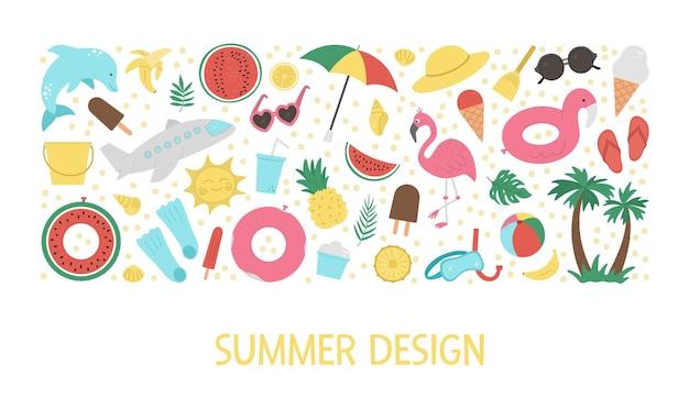 가로 흰색 배경에 고립 된 여름 클립 아트 요소와 설정