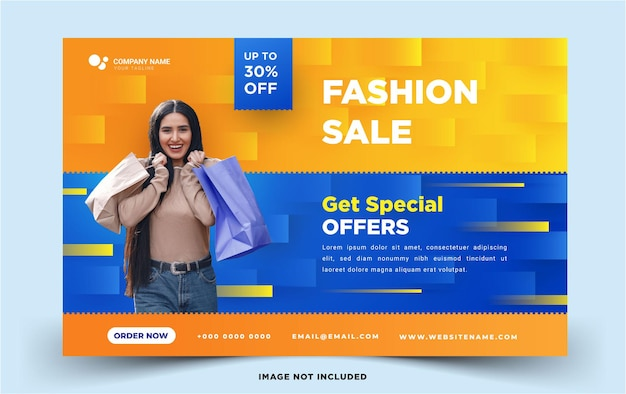 Horizontal social media banner fashion sale
