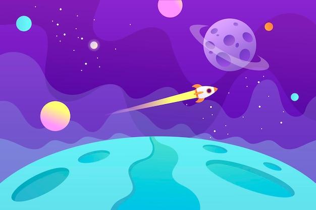 飛行宇宙船と惑星と水平空間の背景。ウェブデザイン。幼稚な漫画を探索する宇宙。