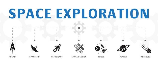 シンプルなアイコンで水平宇宙探査バナーコンセプトテンプレート。ロケット、宇宙船、宇宙飛行士などのアイコンが含まれています