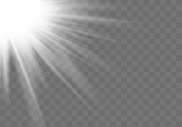 Horizontal stellar rays and searchlight. sunshine. realistic white glowing light explodes on a transparent background. blur in the light of radiance. illustration for banners, posters and cards