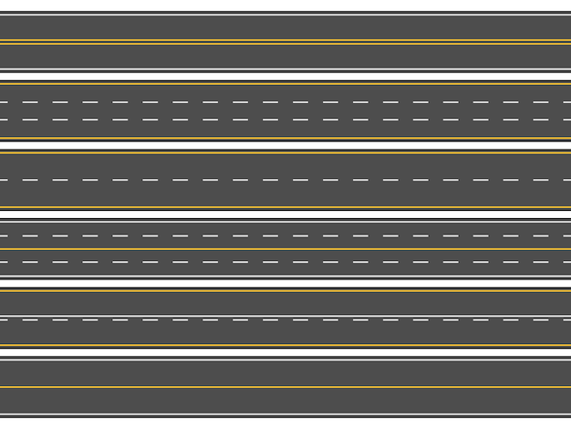 Horizontal straight asphalt roads, modern street roadway lines or empty highways markings