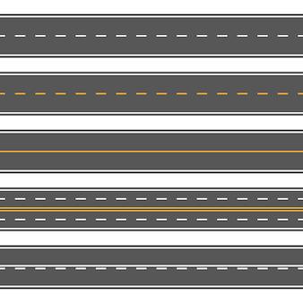 Horizontal straight seamless roads. modern asphalt repetitive highways
