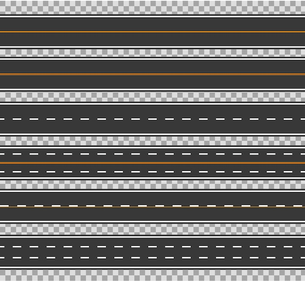 Horizontal straight seamless roads vector traffic path. modern asphalt repetitive highways.