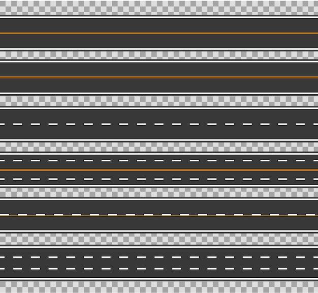 Horizontal straight seamless roads vector traffic path. modern asphalt repetitive highways.