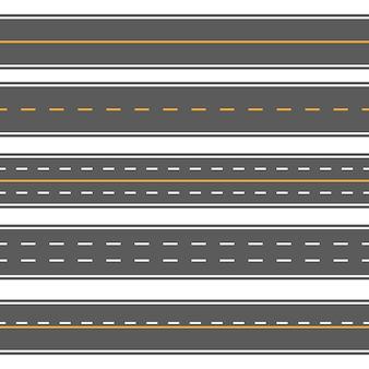 Horizontal straight seamless roads