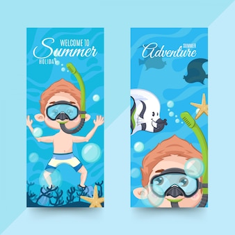 Horizontal summer banners with diving accessories