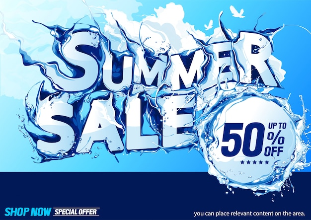 Horizontal summer sale water wave
