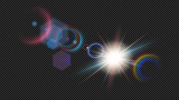 水平方向の太陽光線とスポットライト。透明に分離されたカラフルな輝く光の爆発。ビームでカラフルな効果。輝く明るいフラッシュ。特別なレンズの光の効果の現実的なベクトル図